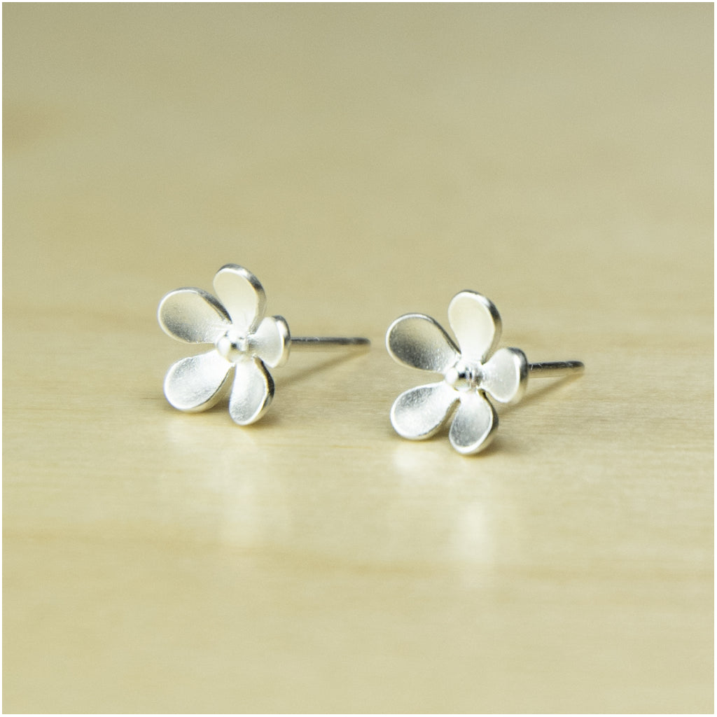 Forget Me Knot Stud Earrings Brushed Sterling Silver