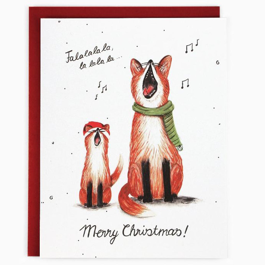 Foxes Singing Falala Card