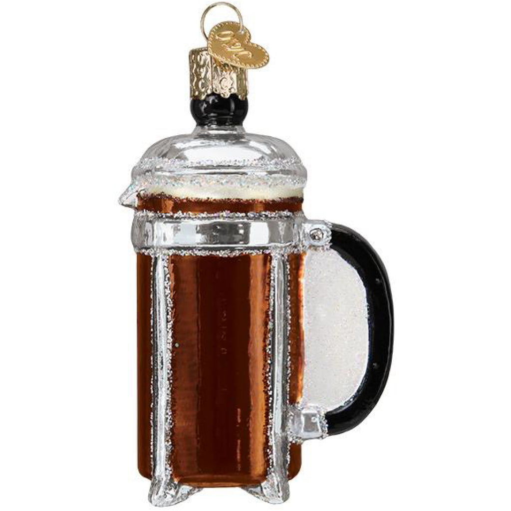 Side of French Coffee Press Ornament.