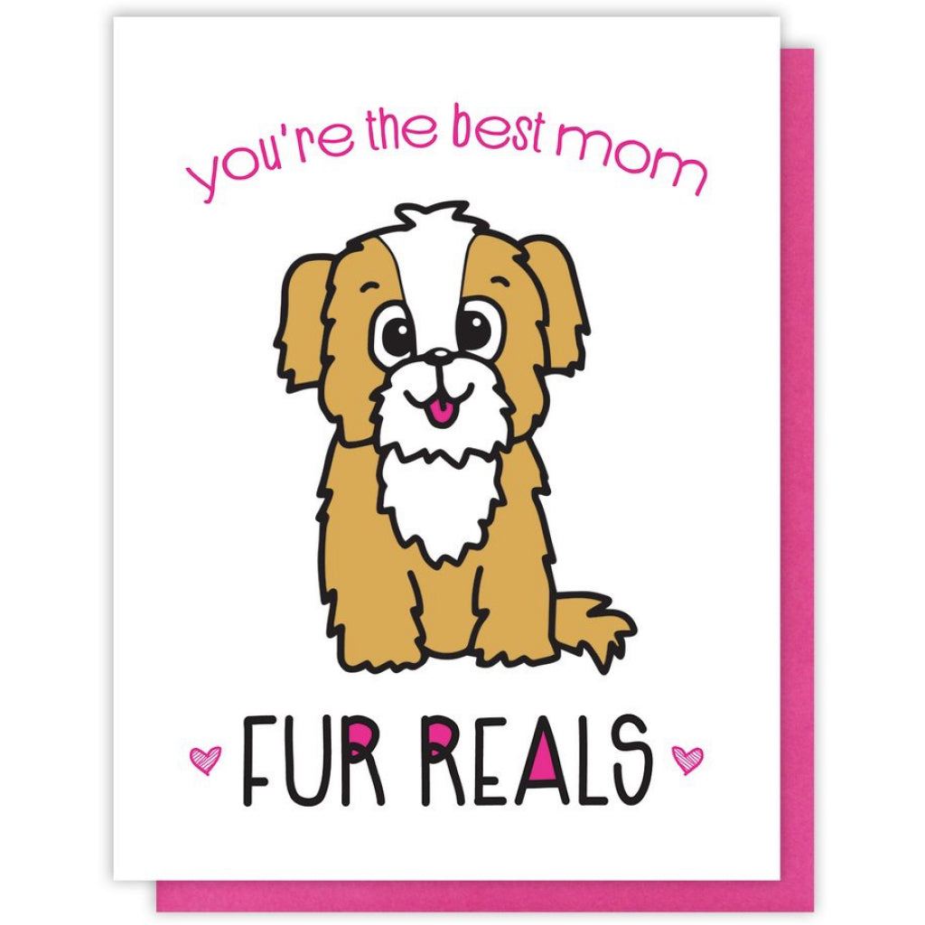 Fur Reals Dog Mom Card Kiss And Punch Mothers Day Cards