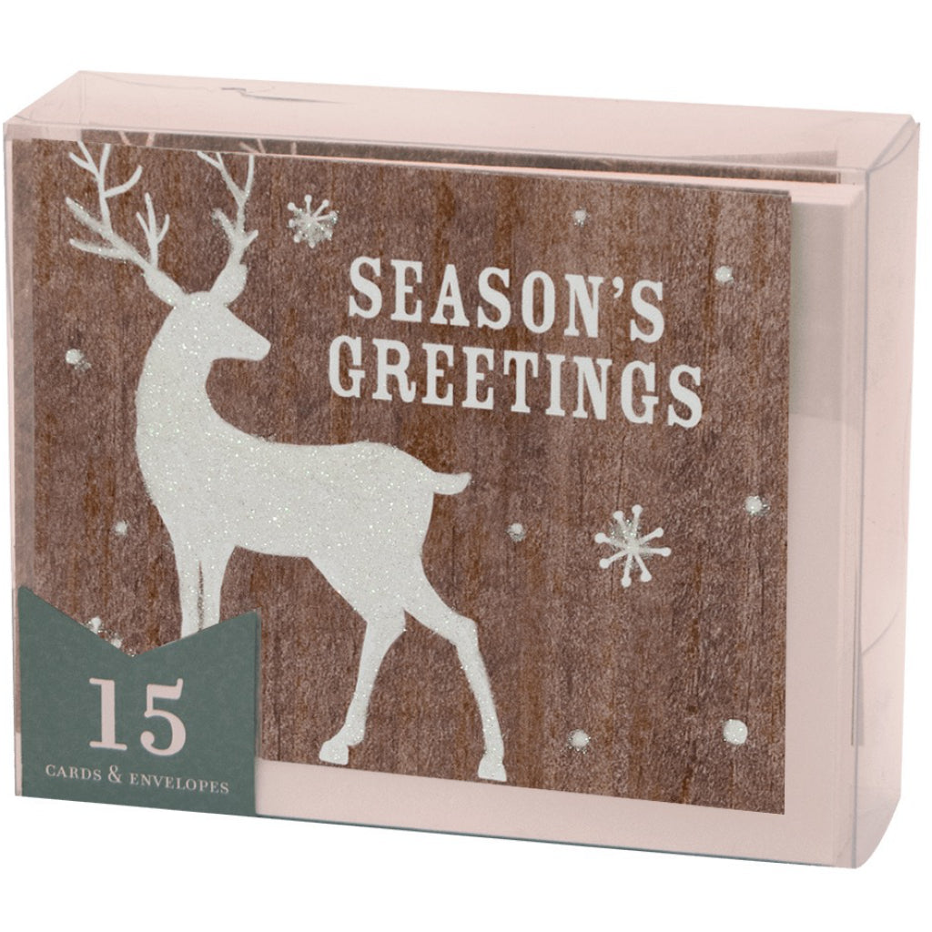 Packaging of Glittered Deer Boxed Christmas Cards.