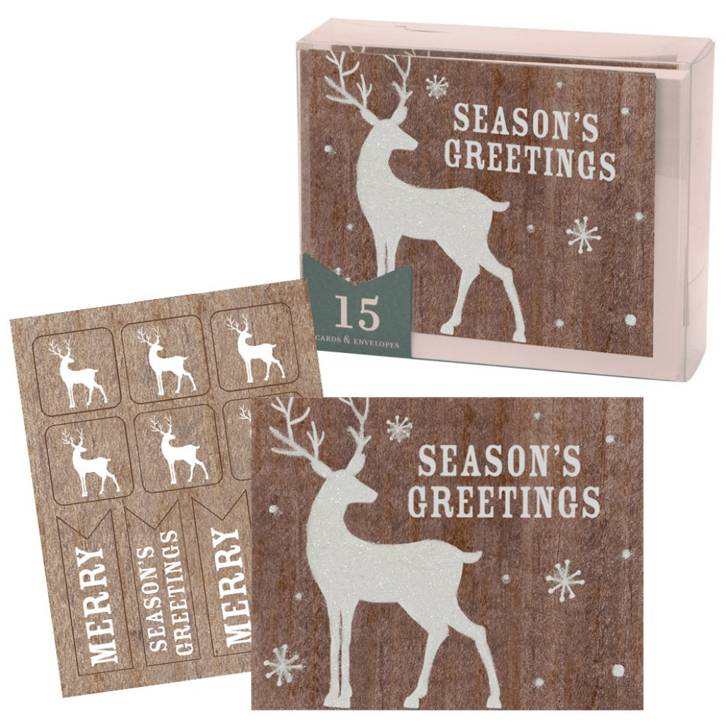 Set of Glittered Deer Boxed Christmas Cards.