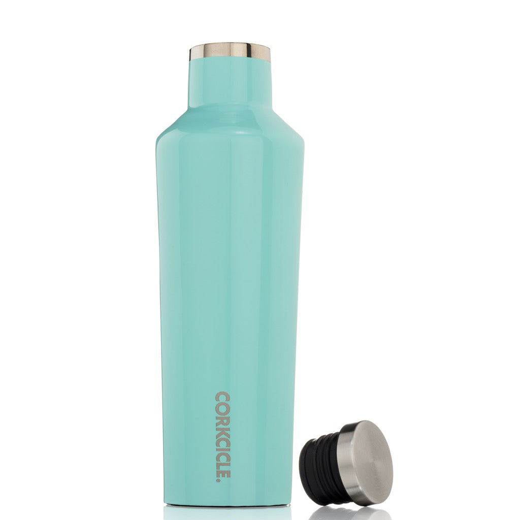Gloss Turquoise Canteen 16oz Lid off