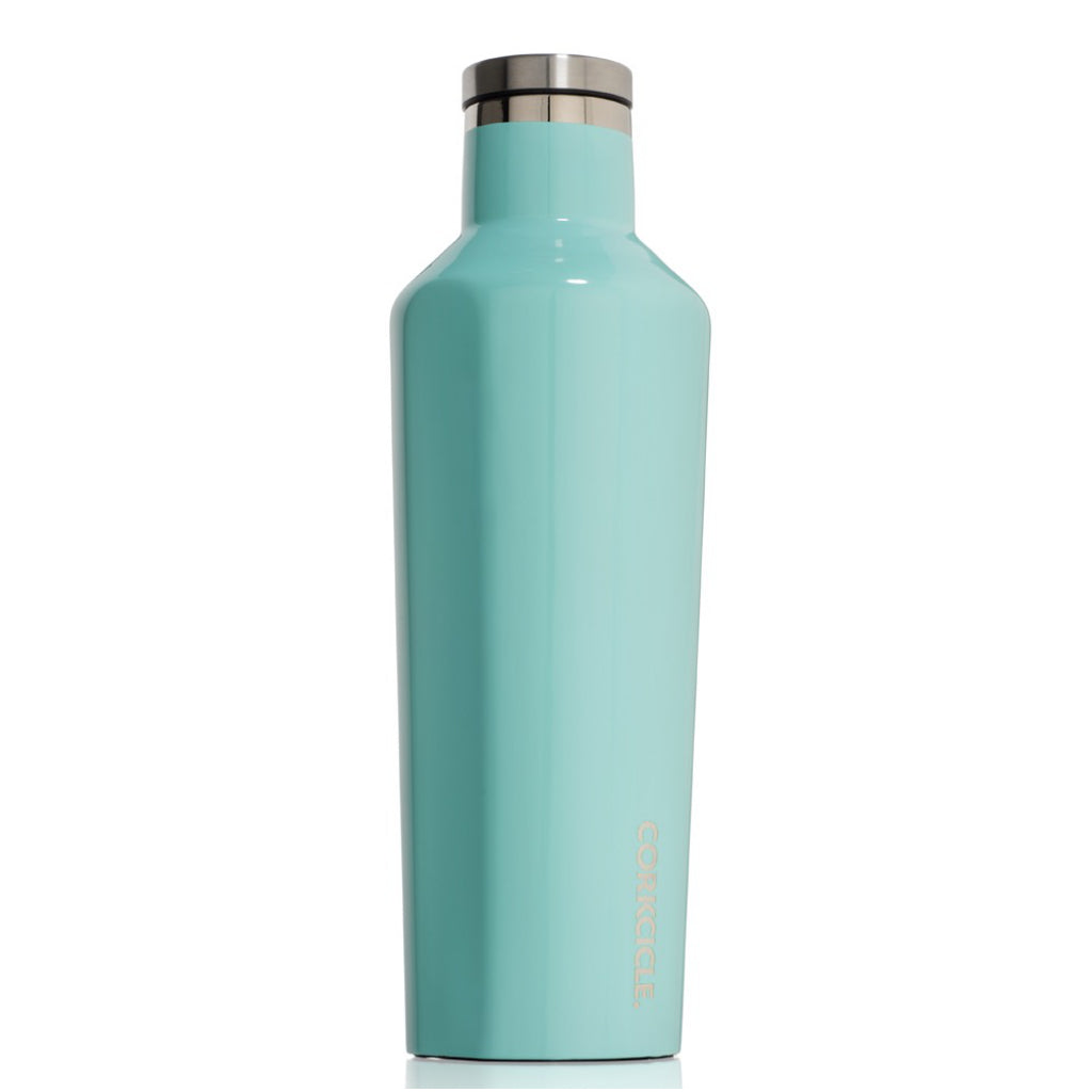 Gloss Turquoise Canteen 16oz Side view