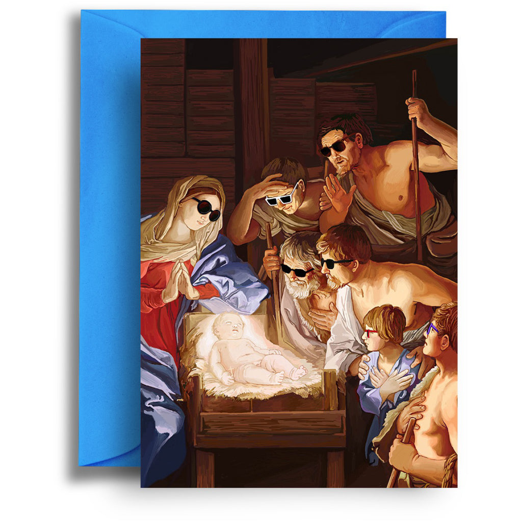 Glowing Jesus In Manger card