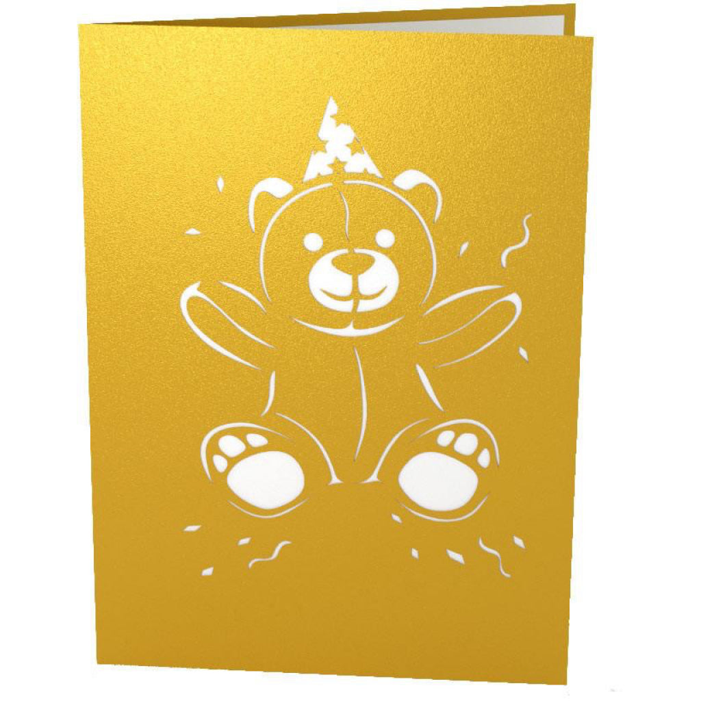 Gold Birthday Bear 3D Pop Up Card Front