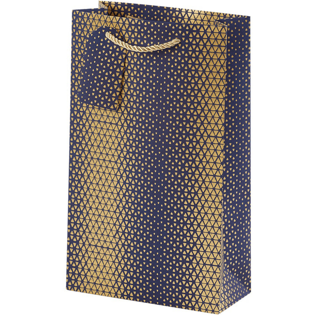 Gold Geo-Navy Double Bottle Bag