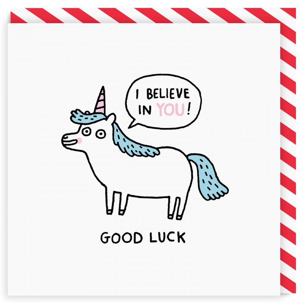 Good Luck Unicorn Square Card