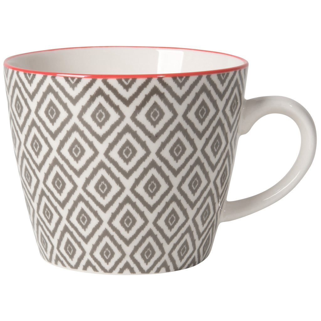 Gray Diamonds Stamped Mug 12oz.