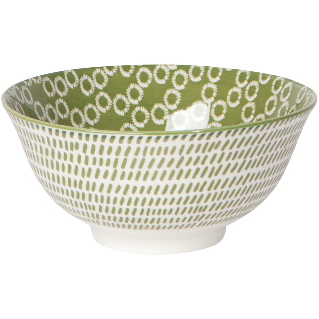 Green Rings Stamped Bowl 6 inch