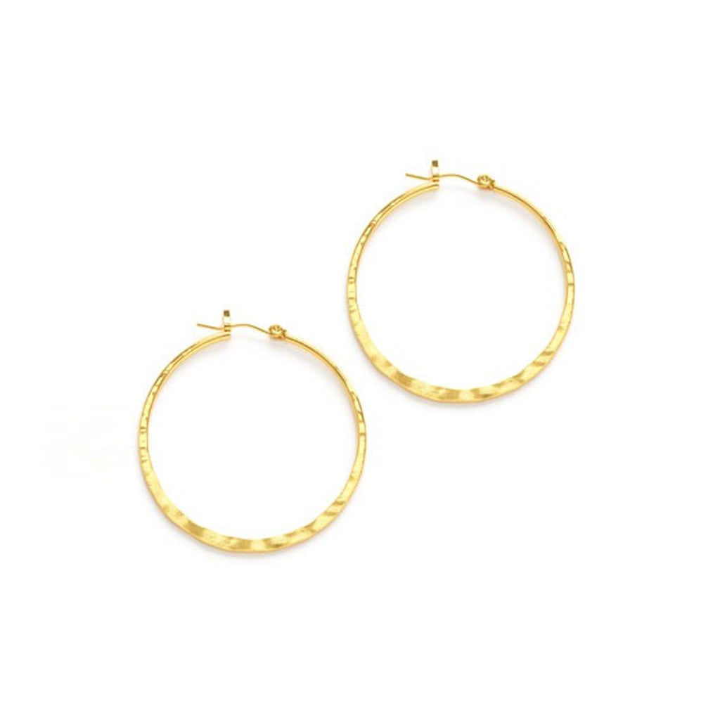 Hammered Hoop Gold Earrings