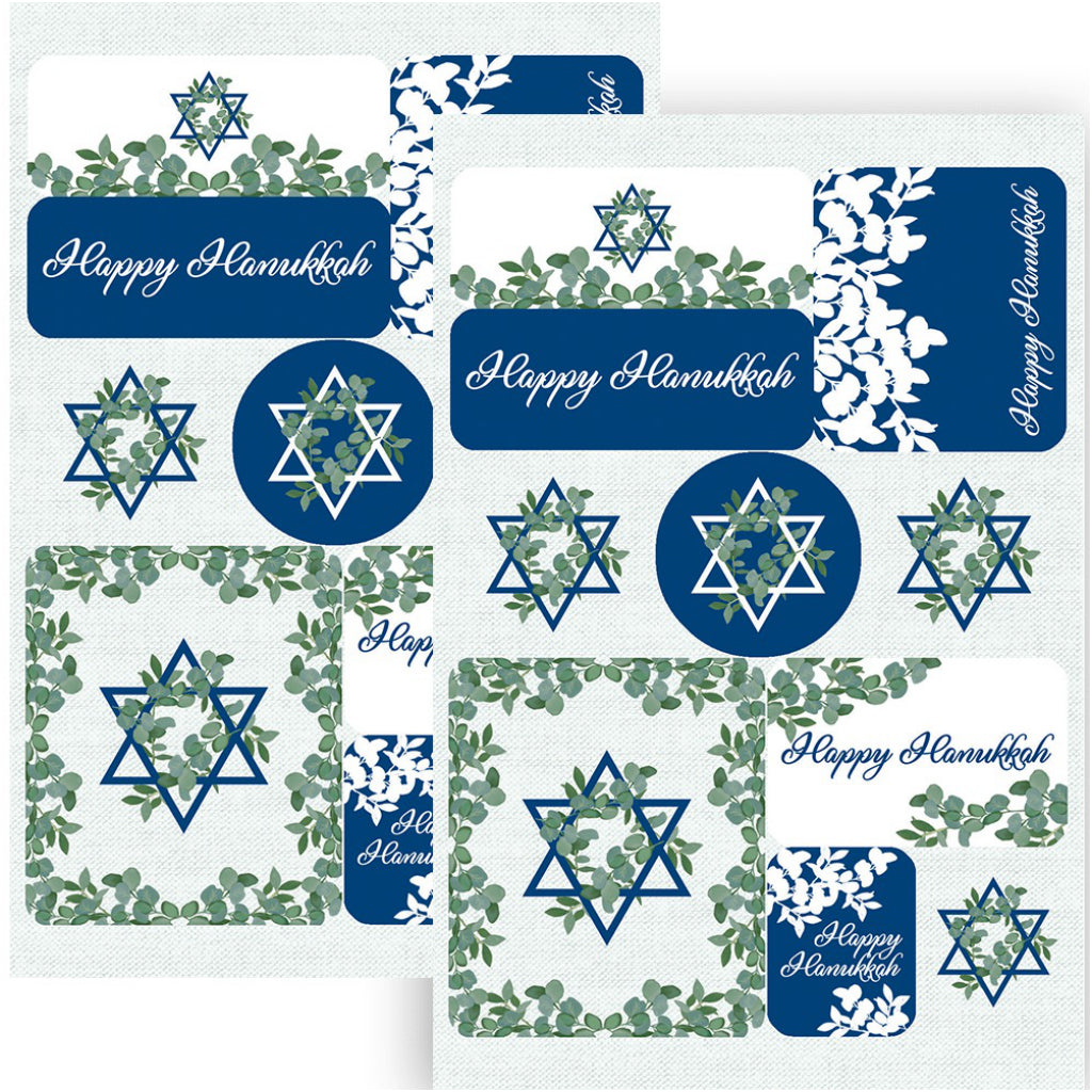 Hanukkah Greenery Boxed Cards Stickers