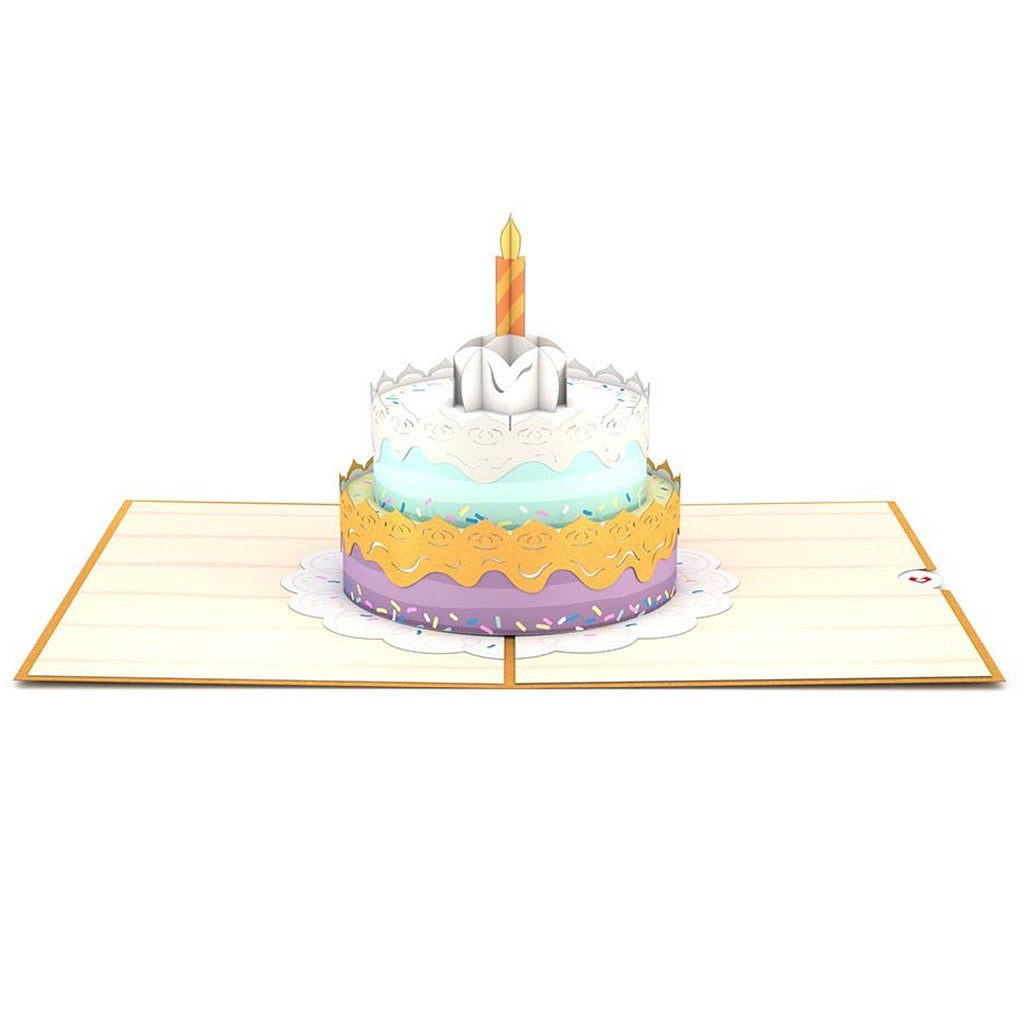 Happy Birthday Cake 3D Pop Up Card Open