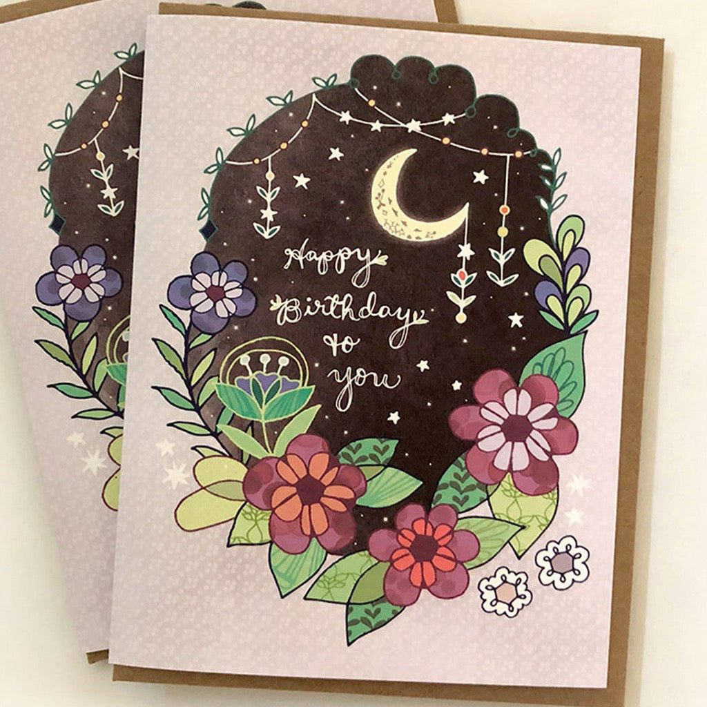 Happy Birthday To You Moon & Flowers Card