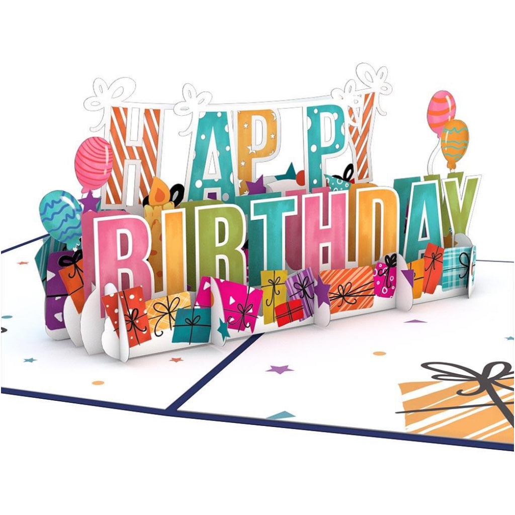 Happy Birthday Words 3D Pop Up Card