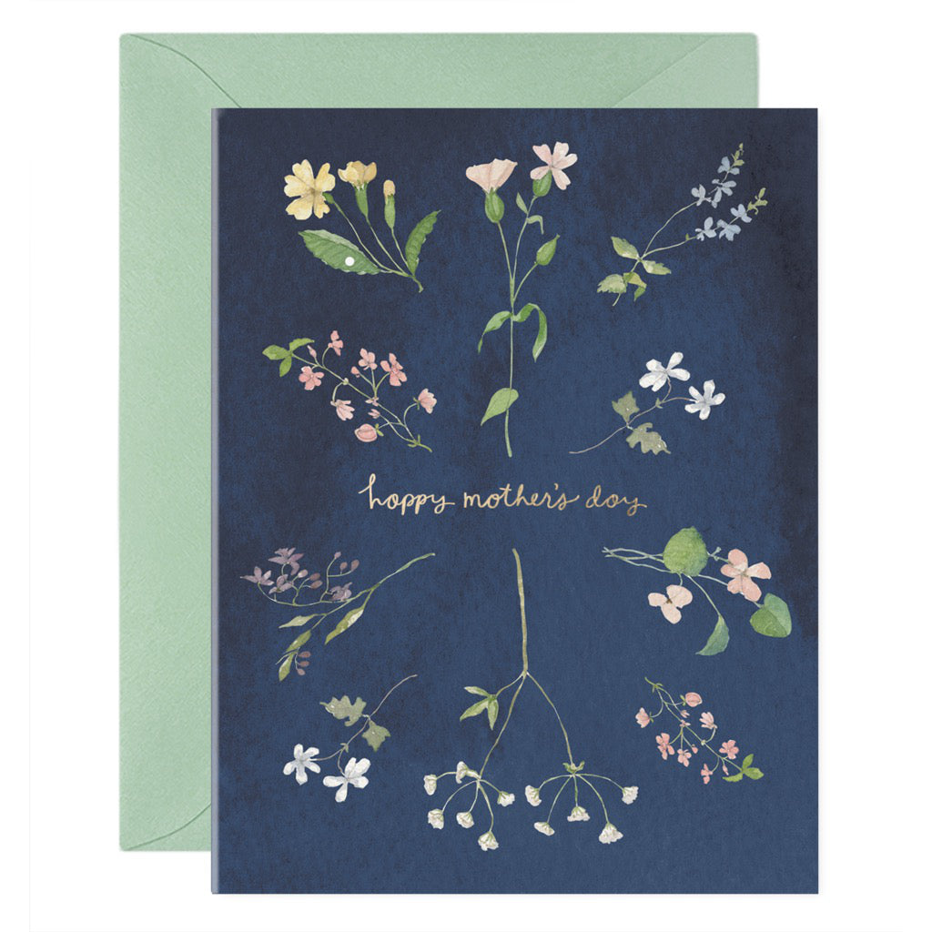 Happy Mother's Day Blue With Flowers Card