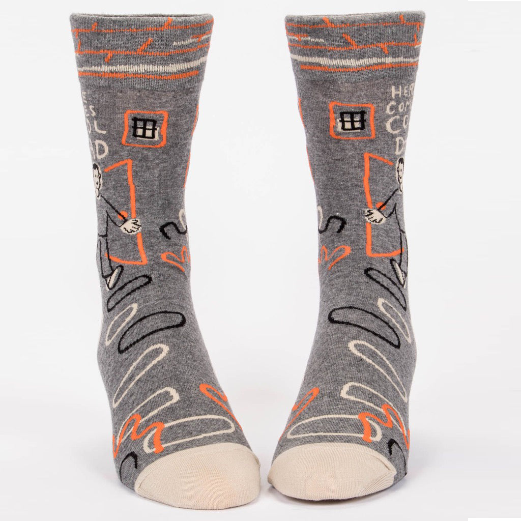 Front View of Here Comes Cool Dad Men's Socks.