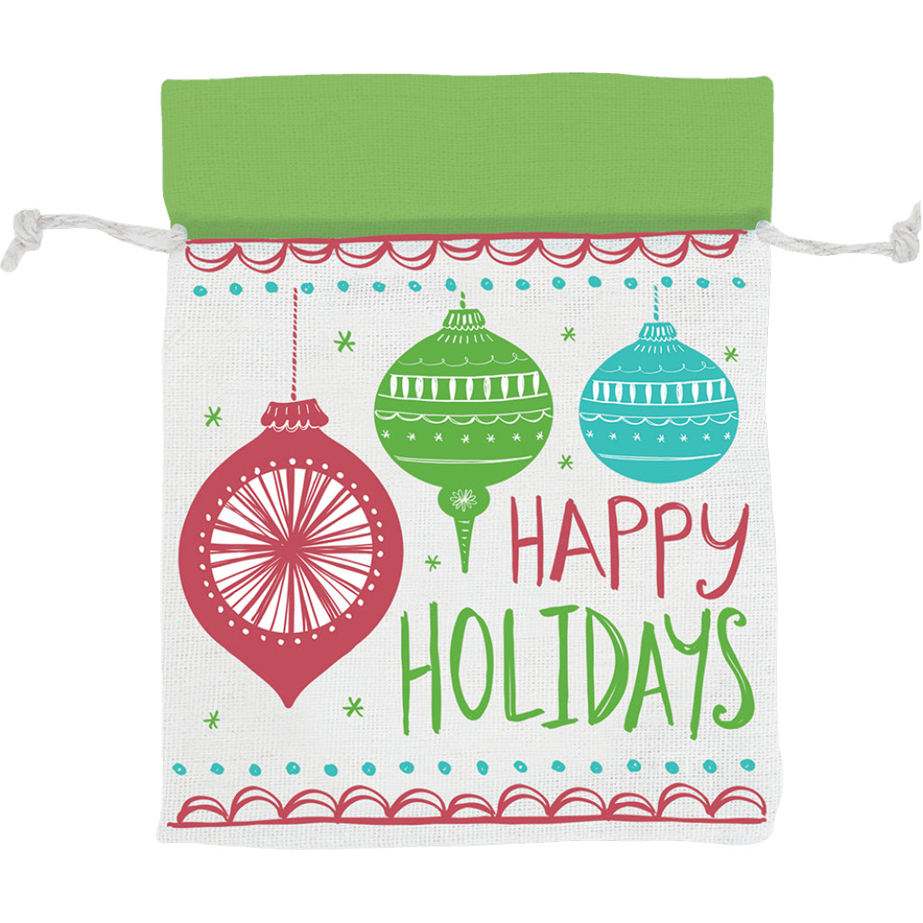 Holiday Ornaments Fabric Drawstring Pouch