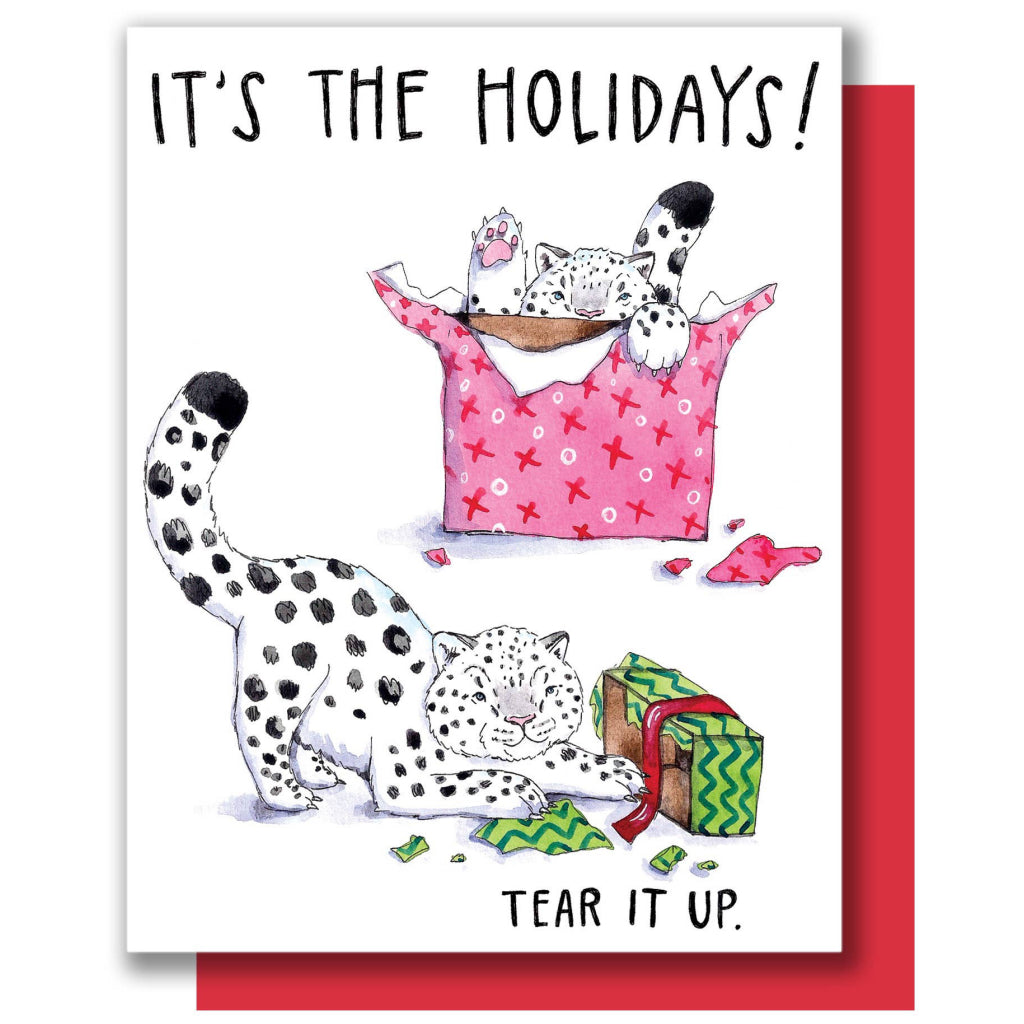 Holiday Snow Leopards Card
