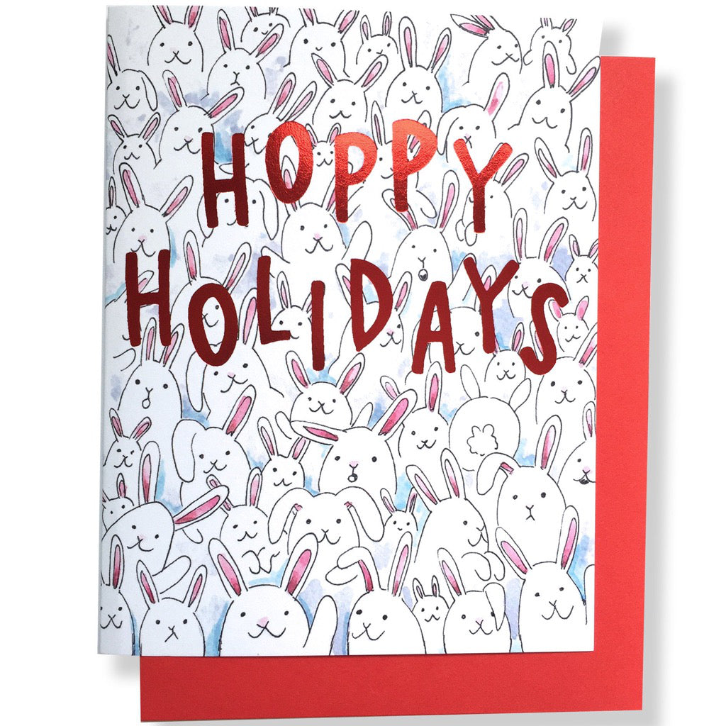 Hoppy Holidays Bunnies Card