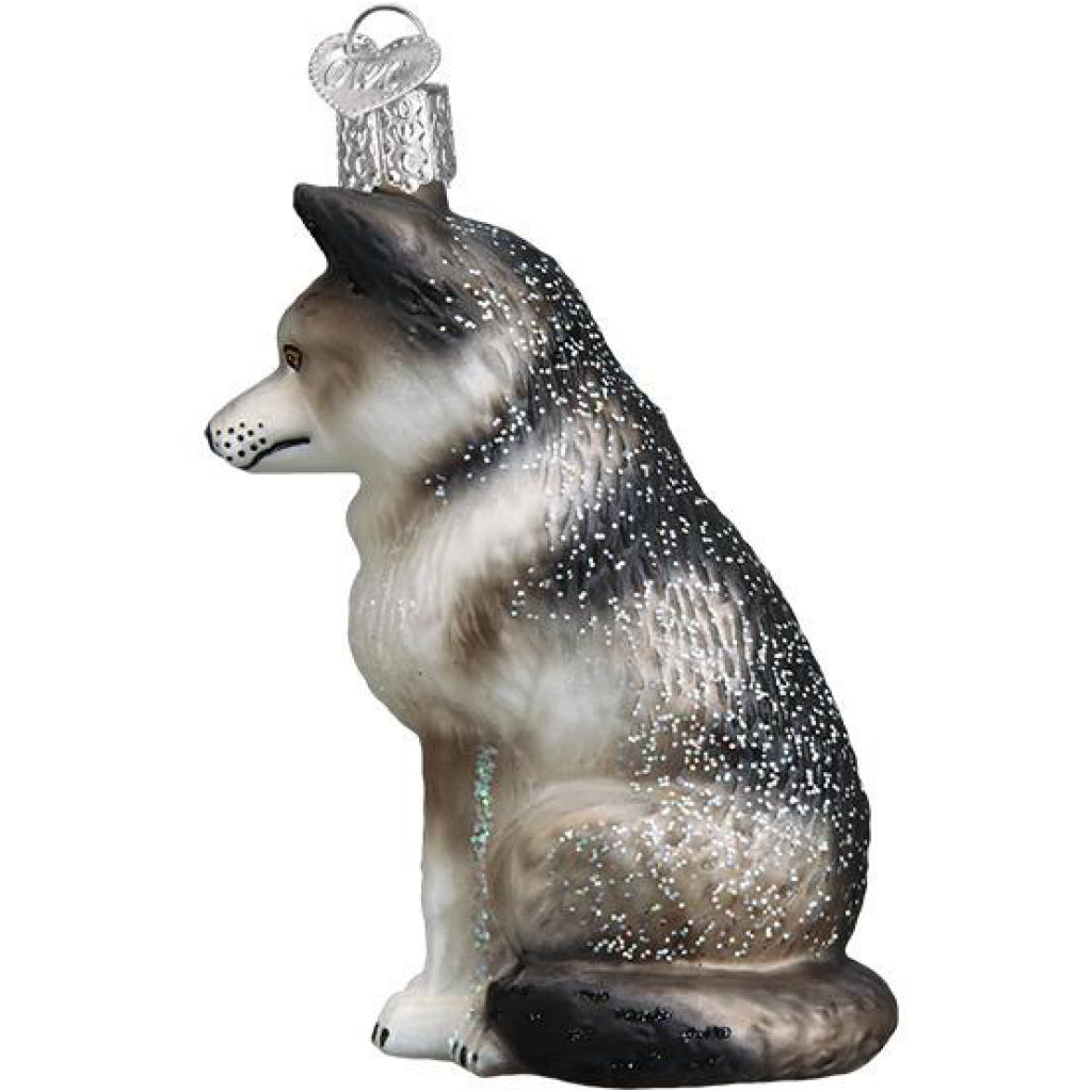 Side of Husky/Wolf Ornament.