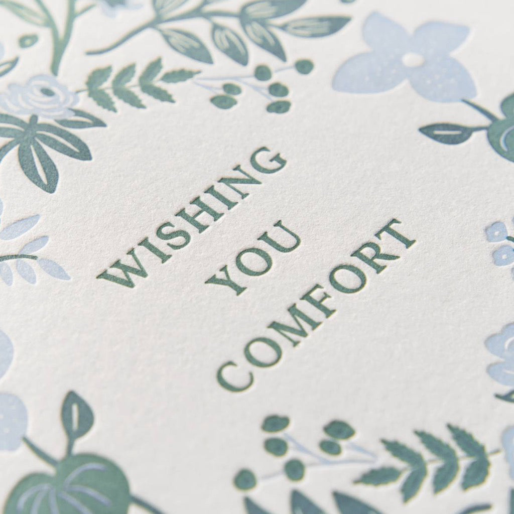 Detail of Indigo Wishing You Comfort Card.