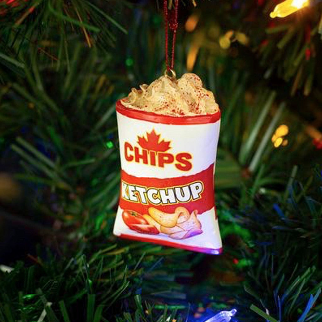 Lifestyle image of Ketchup Chips Ornament.