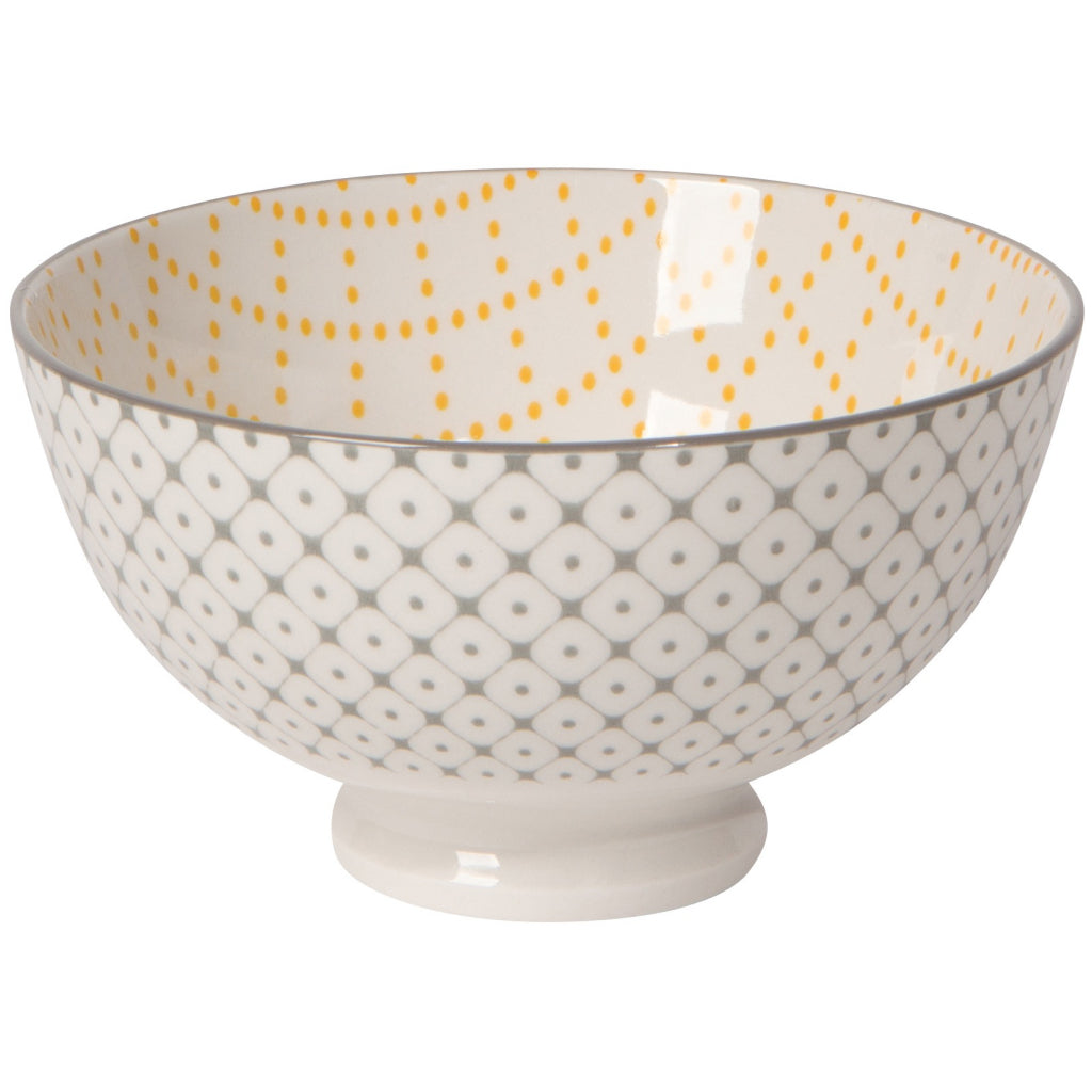 Lattice Yellow/Grey Stamped Bowl 4 Inch