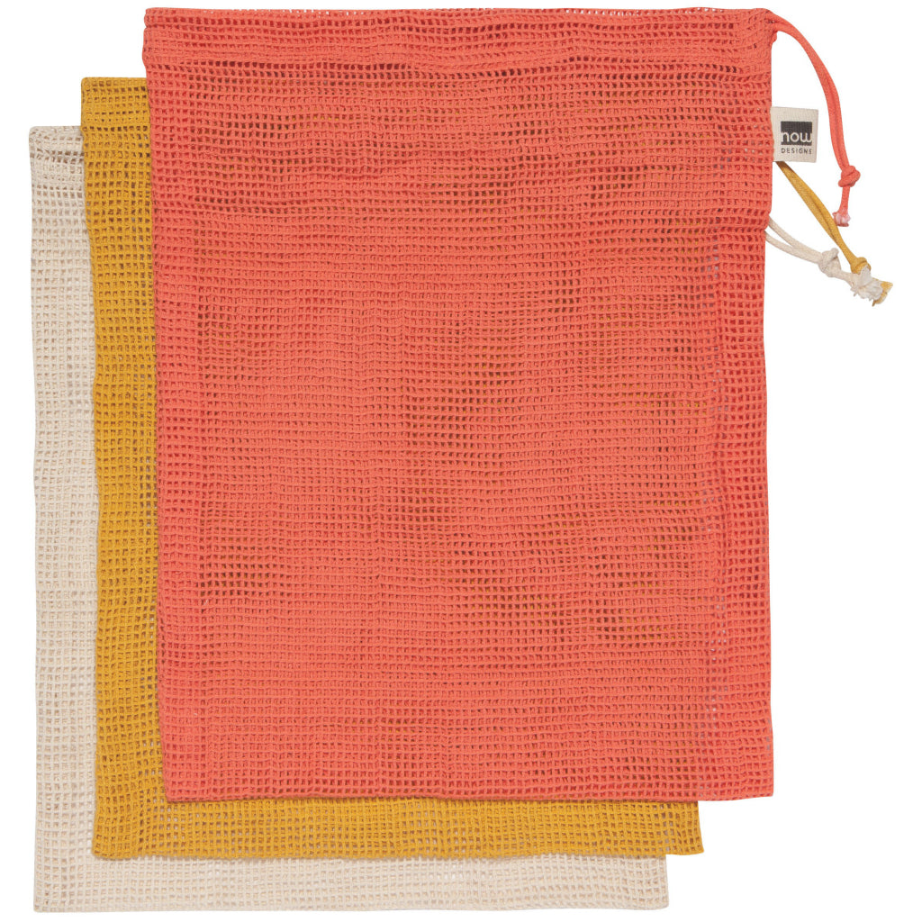 Le Marche Set Of 3 Coral Produce Bags Stacked
