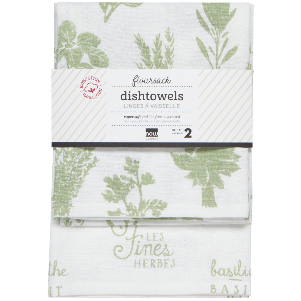 Les Fines Herbes Sage Green Floursack Tea Towels Set Of 2 Packaging