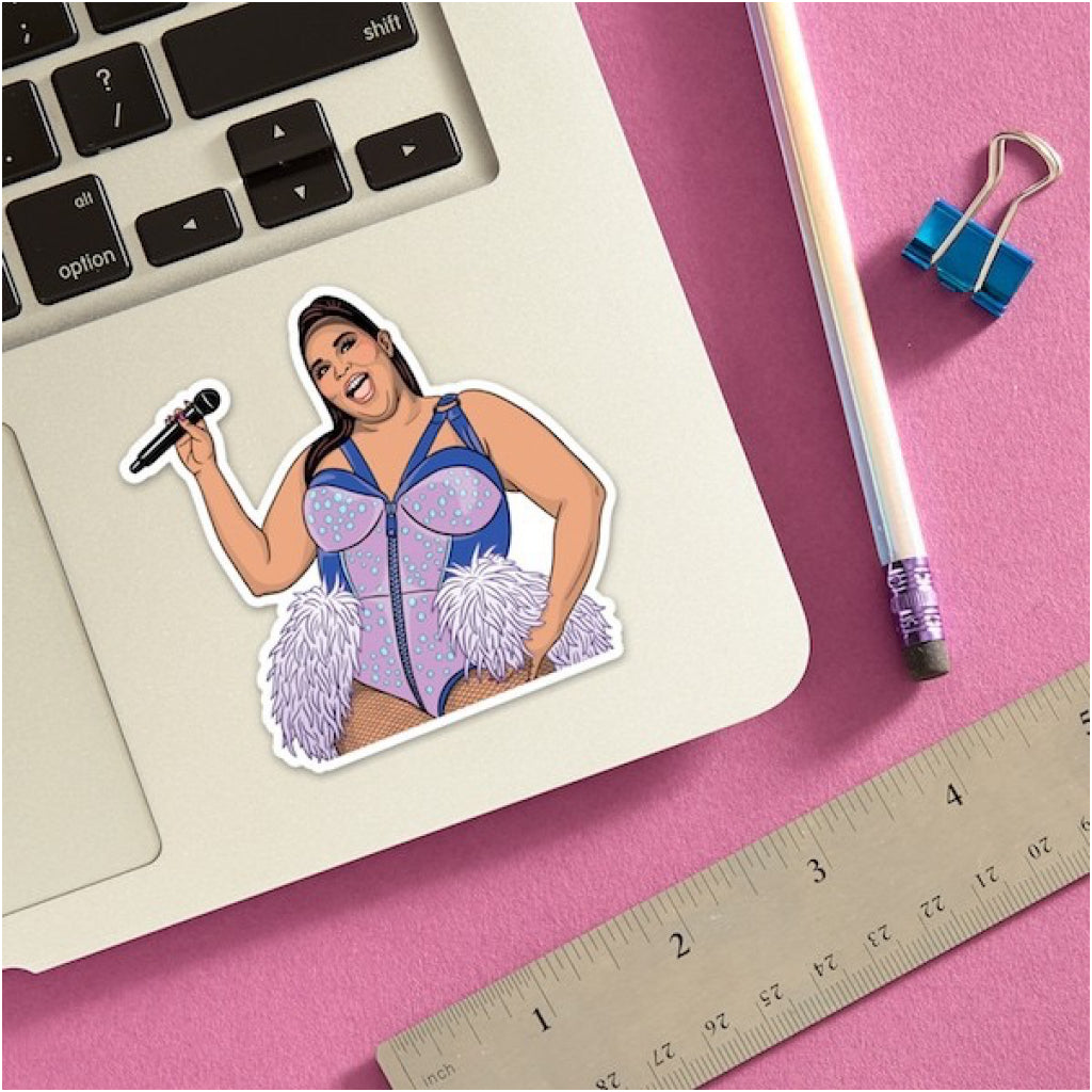 Lizzo With Microphone Sticker Lifestyle