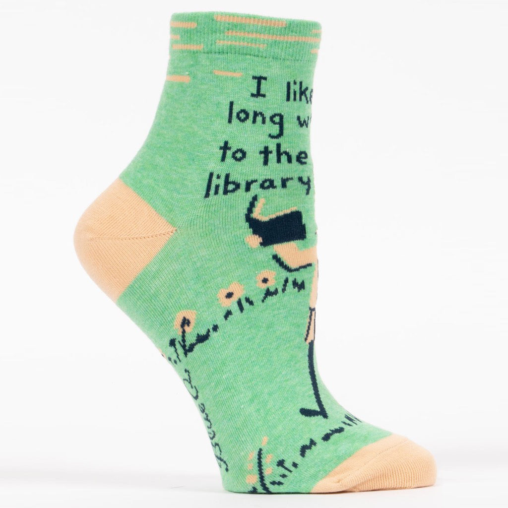 Long Walks To The Library Ankle Socks Side View