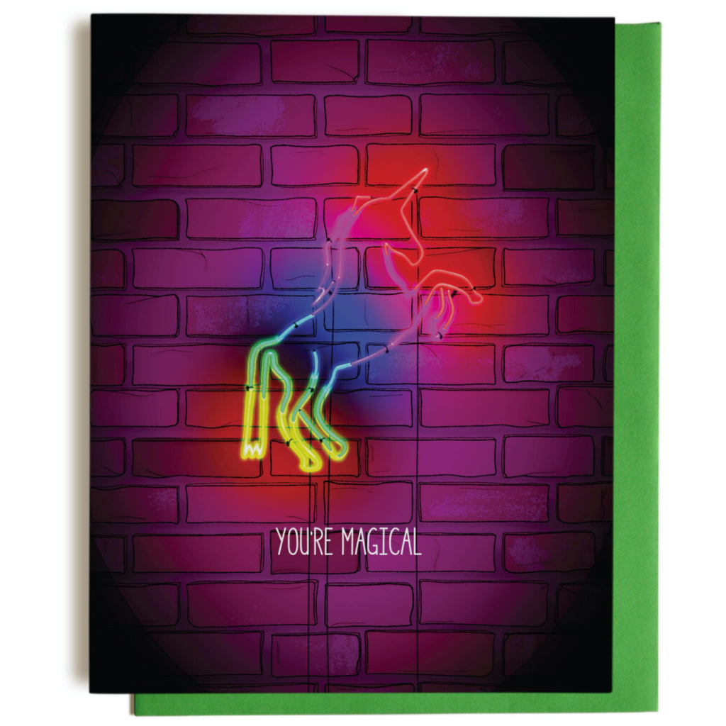 Magical Neon Unicorn Greeting Card