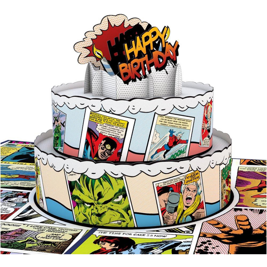 Marvel Comic Birthday Cake 3D Pop Up Card