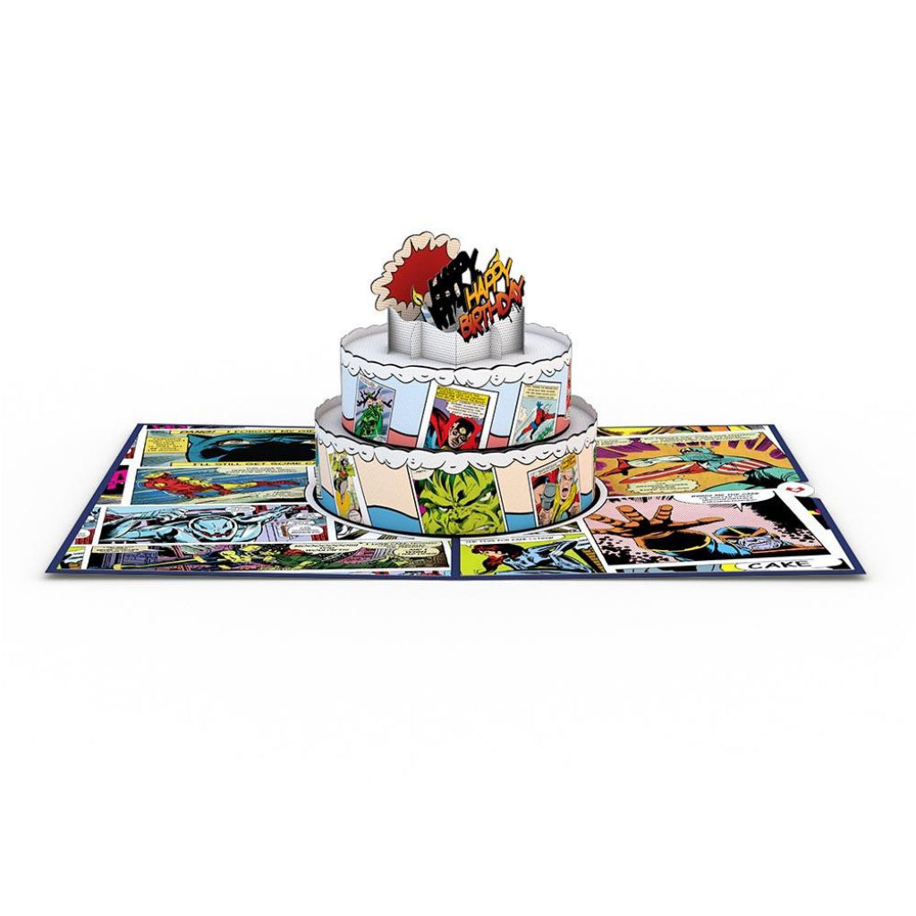 Marvel Comic Birthday Cake 3D Pop Up Card Full view
