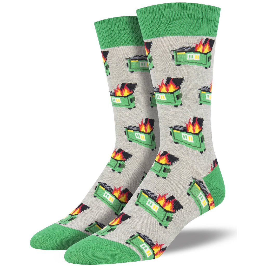 Men's Dumpster Fire Socks Gray Heather