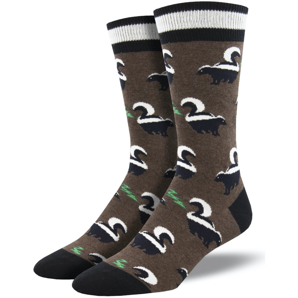 Men's Funky Skunky Socks Brown Heather