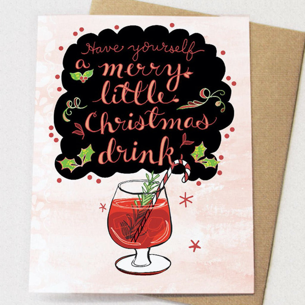 Merry Little Christmas Drink Card