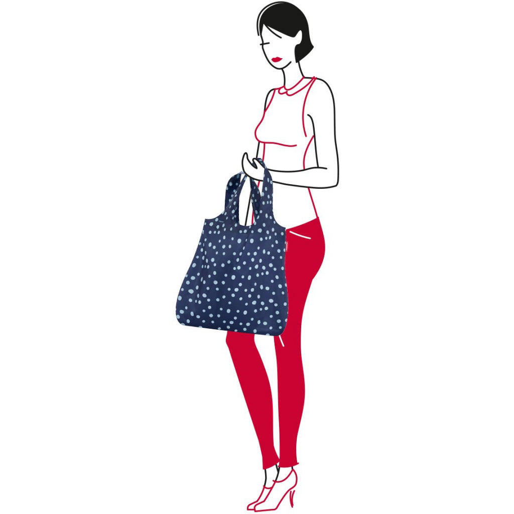 Dimensions of Mini Maxi Shopper Navy Spots.