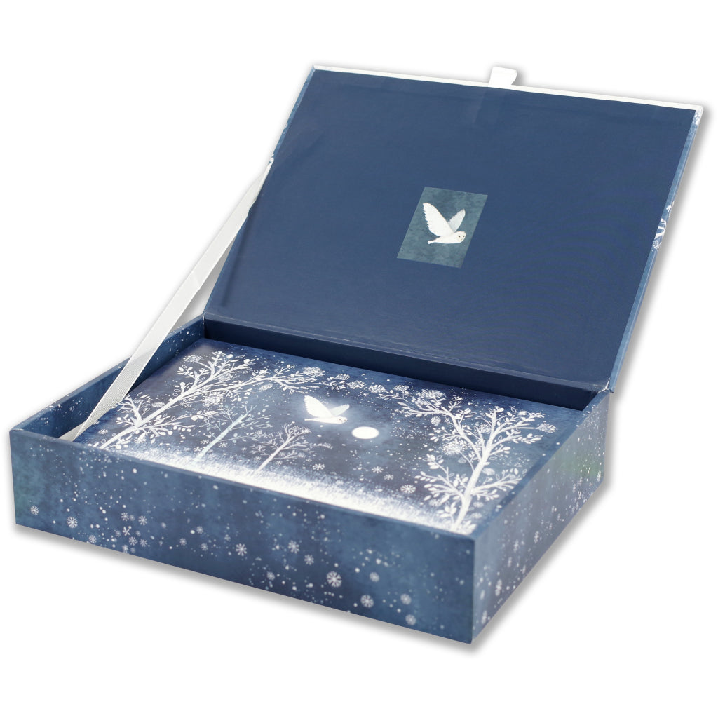 Box of Moonlit Owl Deluxe Boxed Holiday Cards.