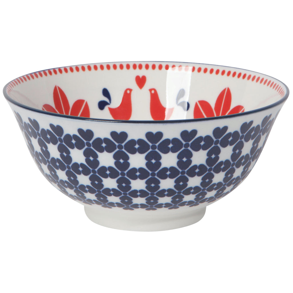 Navy & Red Bird 6 Inch Stamped Bowl.