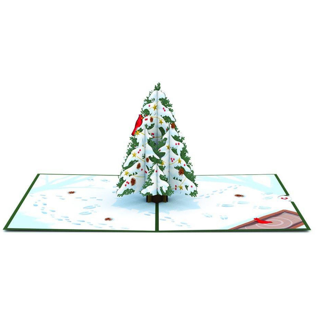 Full view of Night Before Christmas Tree 3D Pop Up Card.