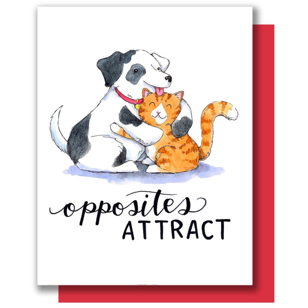 Opposites Attract Cat & Dog Card