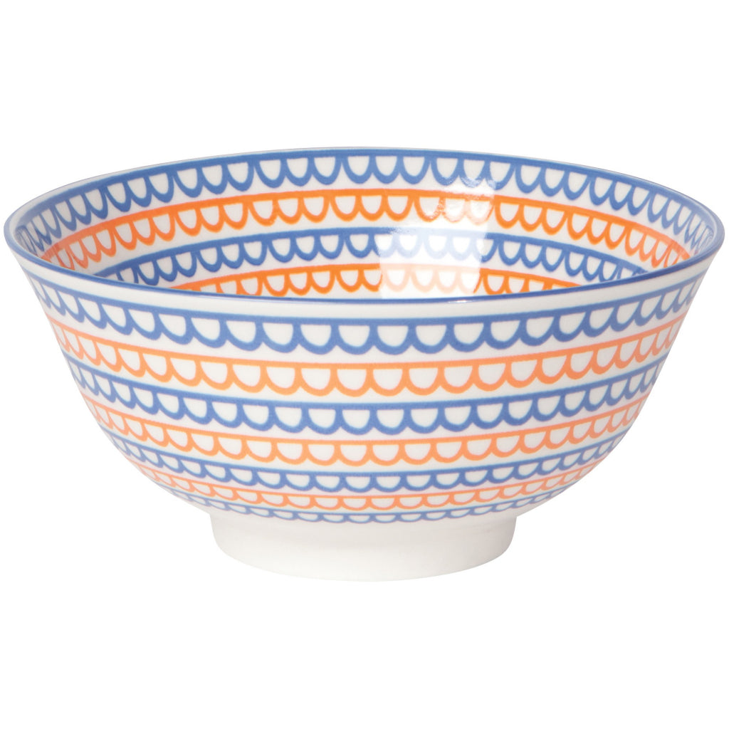 Orange Scallop Stamped Bowl 6 inch