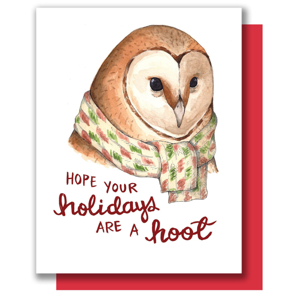 Owl With Scarf Christmas Card