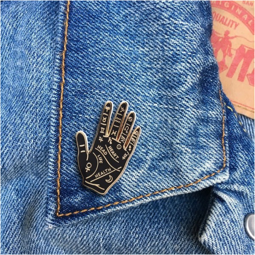 Palm Reading Enamel Pin Lifestyle