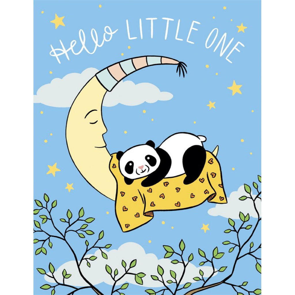 Panda on Moon Baby Card