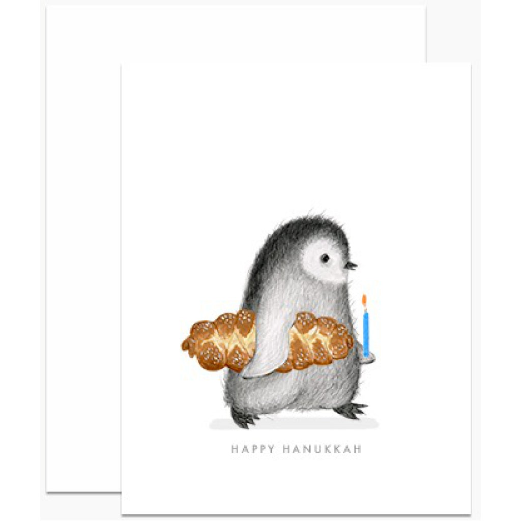 Penguin With Challah Bread Card