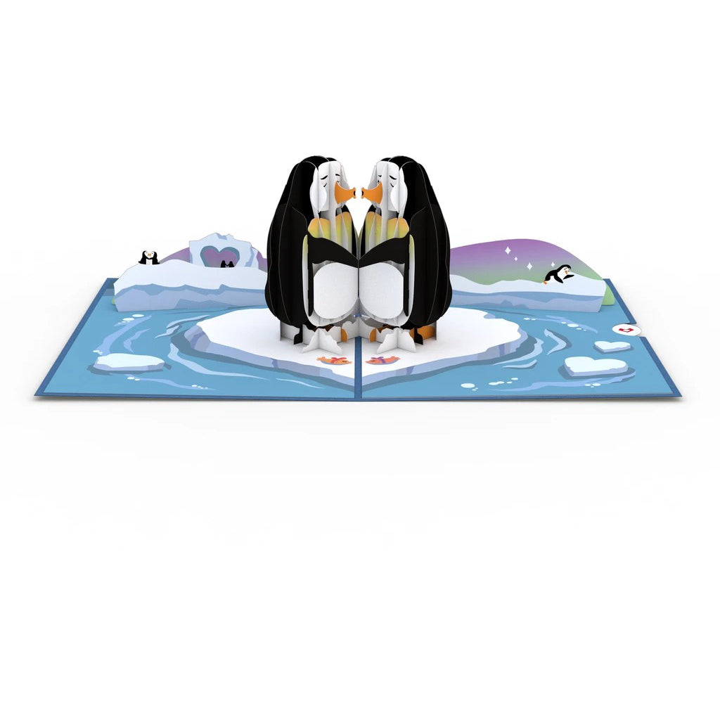 Penguins in Love 3D Pop Up Card Interior