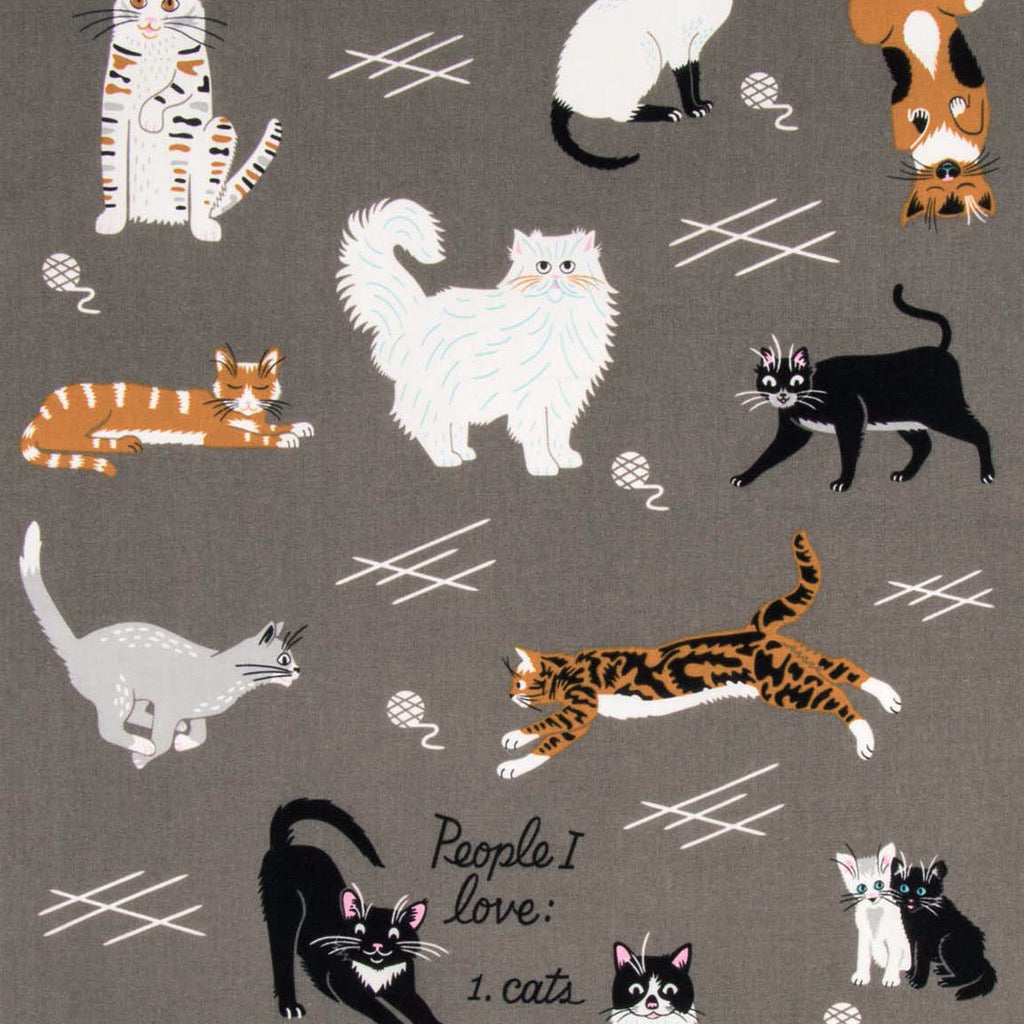 People I Love Cats Dish Towel Unrolled